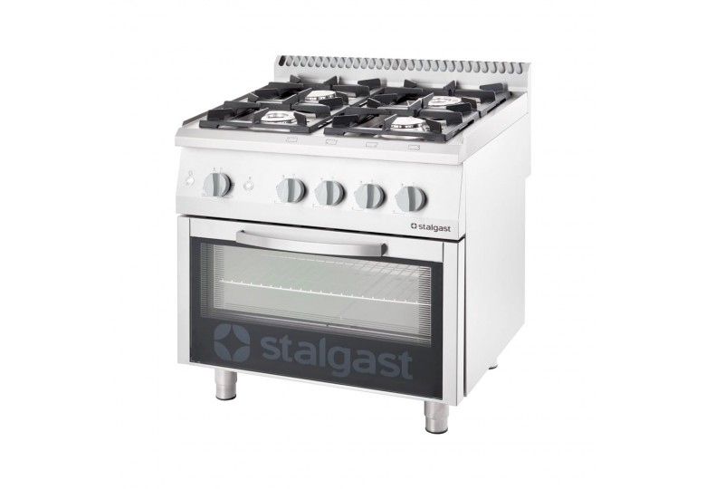 Gas range (4 burners) with gas oven (20,5 + 6 kW) STALGAST 9710110