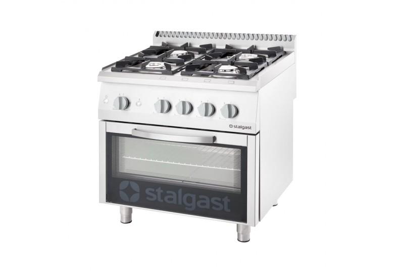 Gas range (4 burners) with gas oven (20,5 + 6 kW) STALGAST 9710110