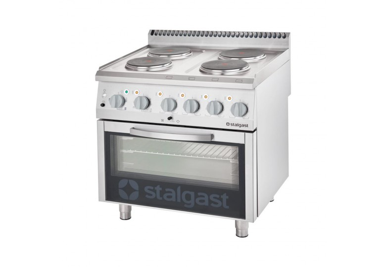 Electric range (4 burners) with electric oven (10,4 + 7 kW) STALGAST 9715000
