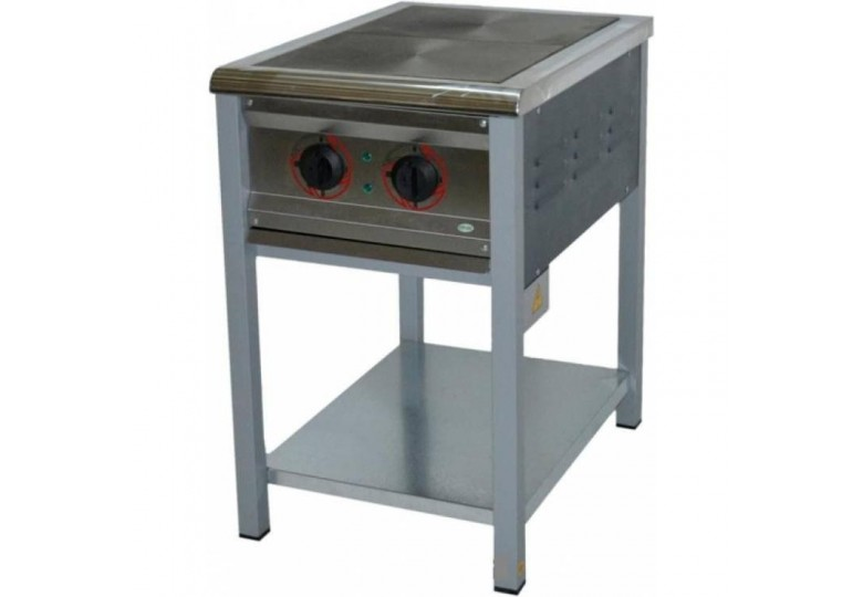 Electric stove, energy efficient ПЕ-2Ч, steel burners, without oven, polymer coating