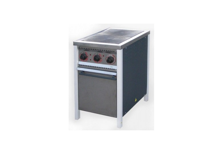 Electric stove, energy efficient ПЕ-2ШЧ, steel burners, with oven, polymer coating